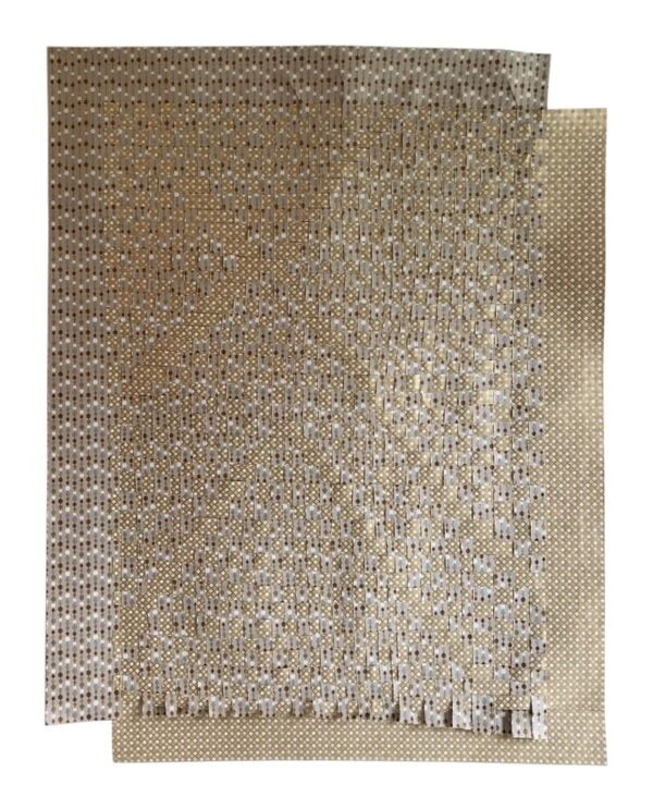 Beige White Gold And Bead Curtain Cement -  1