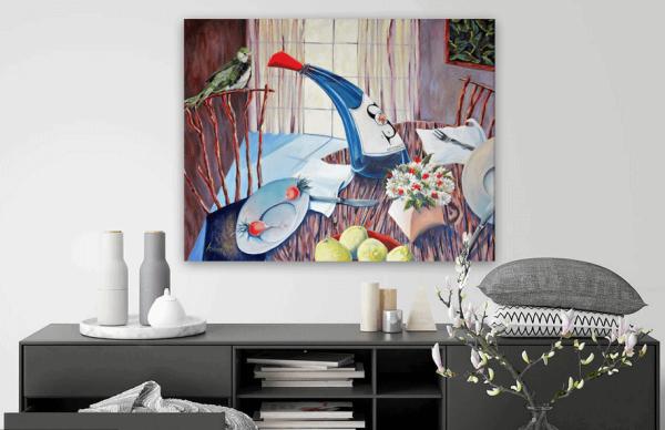 Blue Bottle Bird Wall -  3