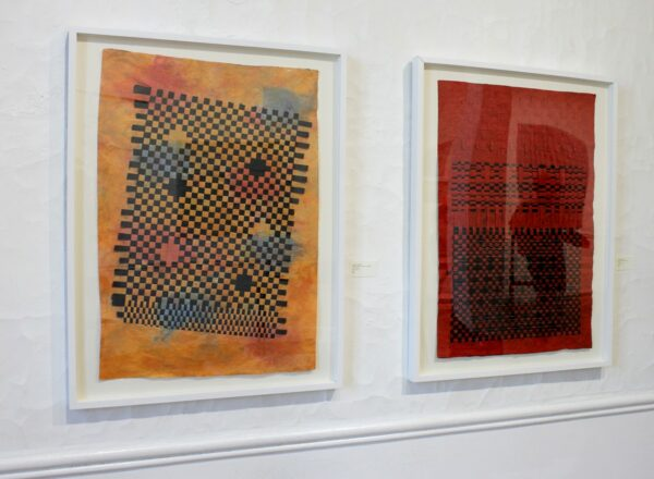 Scarab Club Exhibition Of Contemporary Fiber Arts Marbled Momi Pompeii And Black : Black-Red Unryu Stack -  3