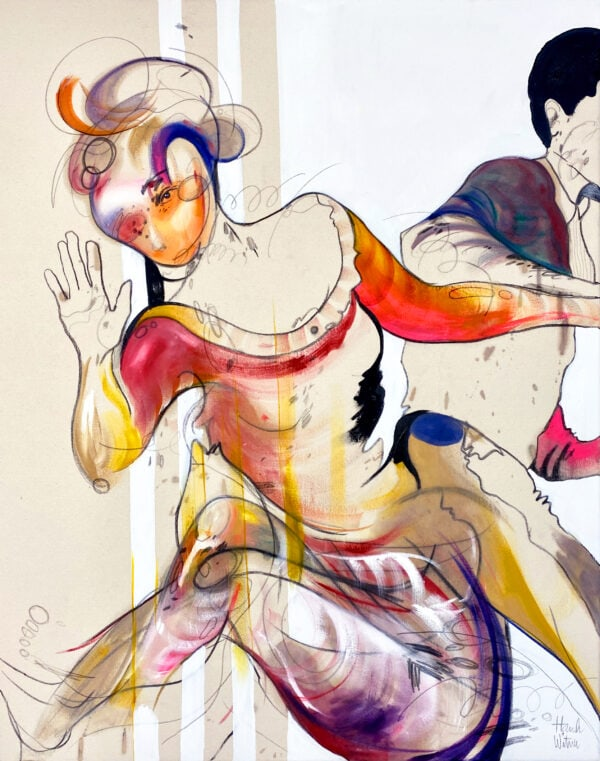 Hannah Witner, Ballroom Twisters, Oil And Charcoal On Unprimed Canvas, 38X22, 2020-1 -  1