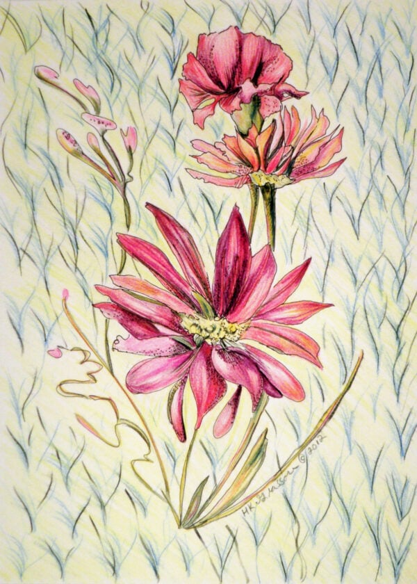 Wall-flowers-ii-floral-drawing