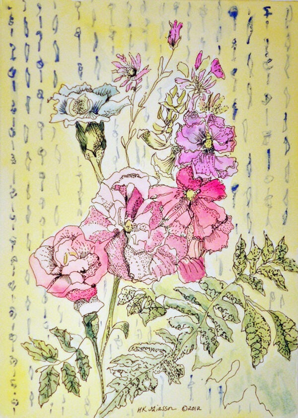 Wall-Flowers-Vii-Watercolor-Painting