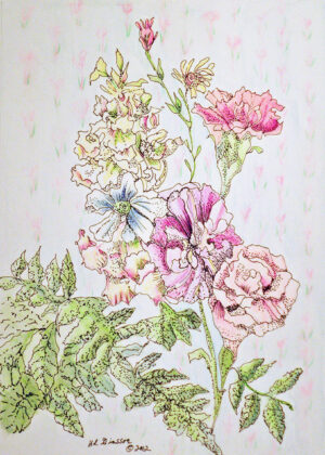 Wall-Flowers-VIII-Watercolor-Painting