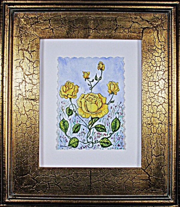 Victorian-yellow-roses-framed