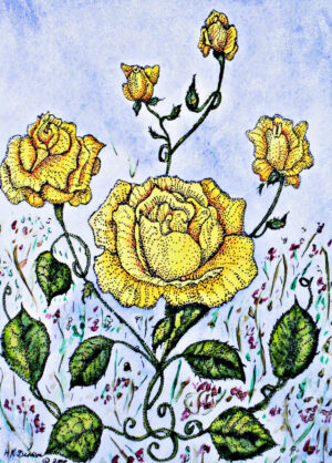 Victorian-Yellow-Roses-Garden-Floral-Watercolor