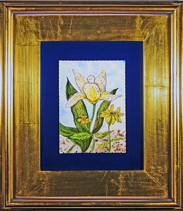 Dutch-tulip-watercolor-in-a-gold-leaf-frame