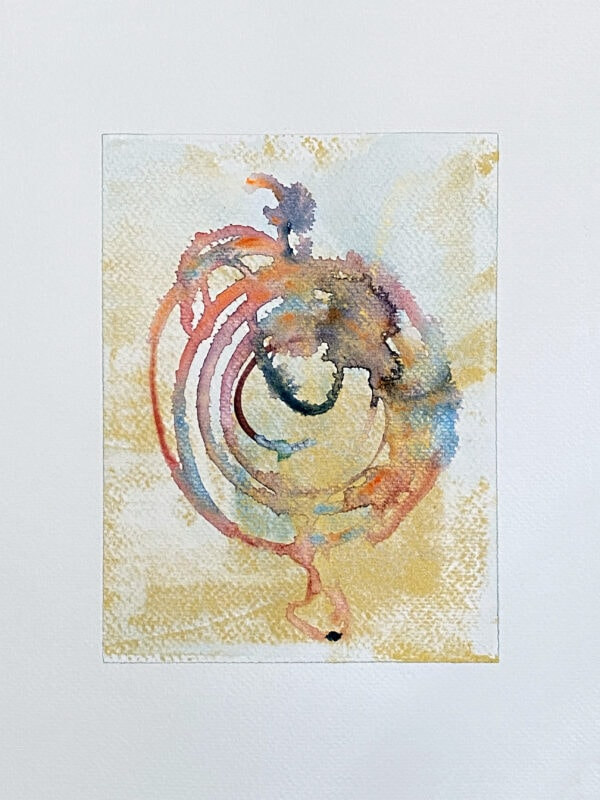 33-Gold Meditation_Watercolor And Ink On Paper 6X8 On 9X12_Ritapatel -  1