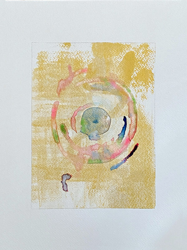 34-Gold Meditation_Watercolor And Ink On Paper 6X8 On 9X12_Ritapatel -  1