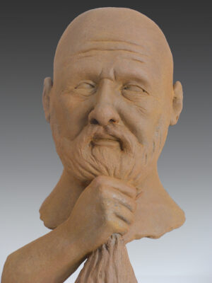 contemporary sculpture, figurative sculpture, man with beard, bearded man, sculpture of bearded man,