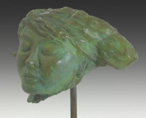 contemporary sculpture, figurative sculpture, bronze sculpture, figurative art, sculpture of woman's head