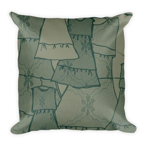Teal And Gray Frida Kahlo Dress Inspired Throw Pillow