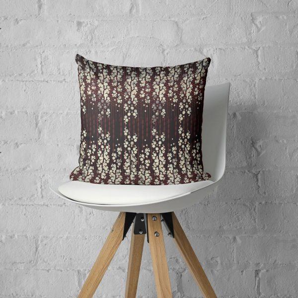 Art Deco Inspired Geometric Print Throw Pillow In Plum, Burgundy, And White