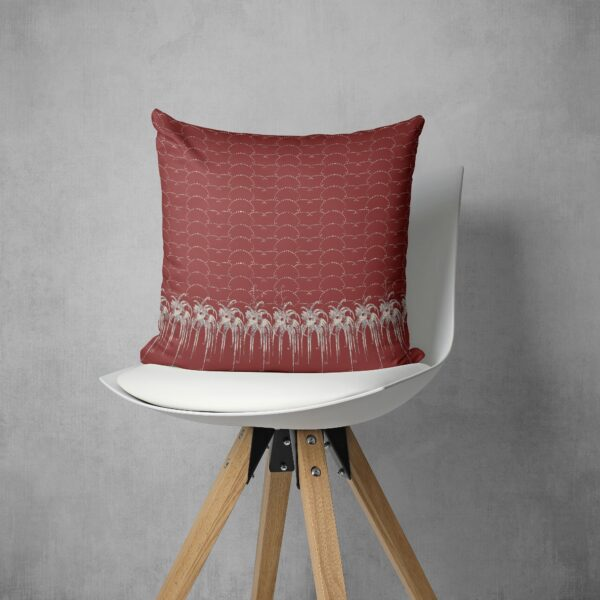 Red Art Deco Inspired Geometric And Floral Throw Pillow