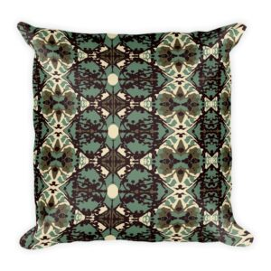 sage, brown and cream damask print throw pillow