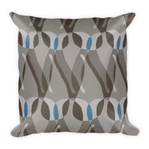 gray and blue modern paisley throw pillow