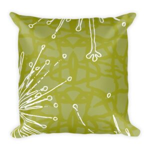 Frida Kahlo inspired chartreuse and white floral throw pillow