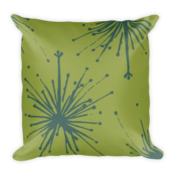 Frida Kahlo Inspired Chartreuse And Teal Floral Throw Pillow