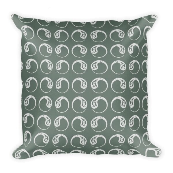 Sage And Cream Colored Throw Pillow With Paisley Circles