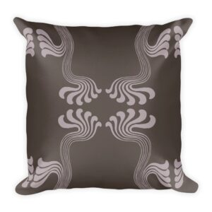 abstract art nouveau inspired paisley throw pillow in muted purple tones