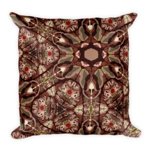 mandala print throw pillow in earth tones