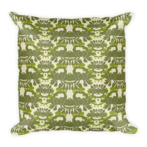 Green Iris Throw Pillow
