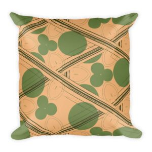 Retro Peach and Green Geometric Throw Pillow