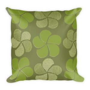 Green on Green Floral Throw Pillow
